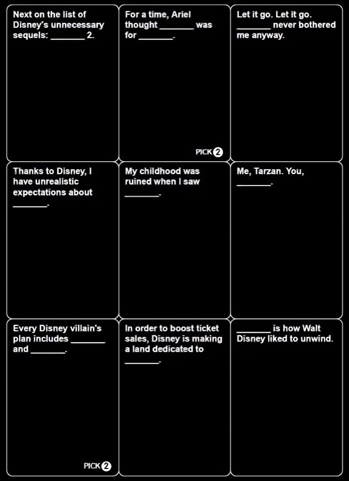 This is a graphic of Resource Cards Against Humanity Questions List