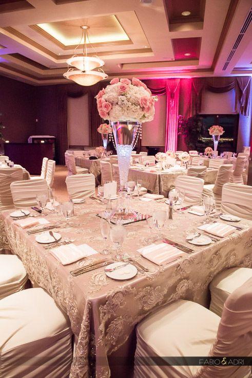 Wedding Reception Decor Pink And Champagne Dragon Ridge Golf Club