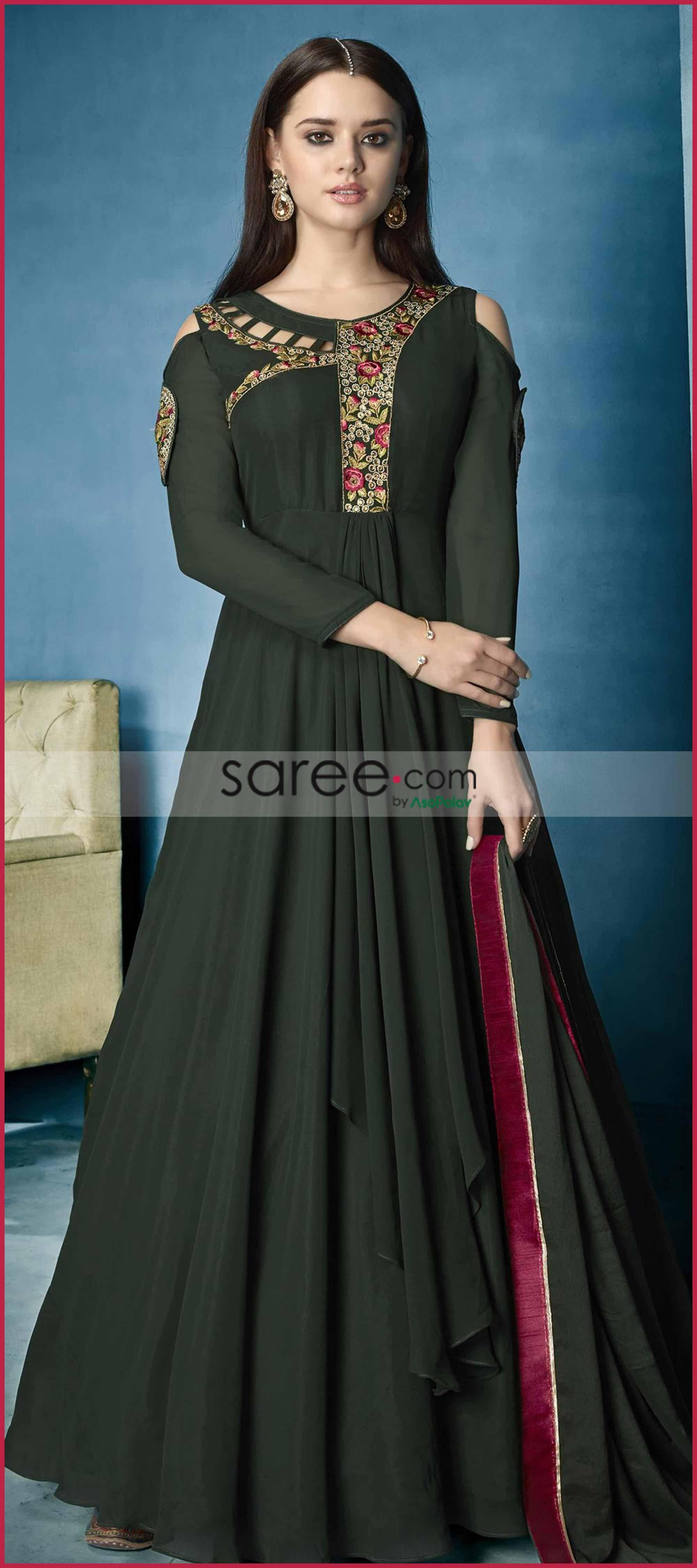 89bf24e525683 Dark Green Georgette Designer Cold Shoulder Anarkali Suit with Thread  Embroidery