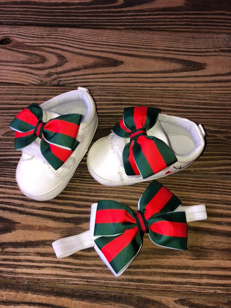 e8bf6f83510fc Baby Girl Gucci shoes and headband, guccie shoes set, inspired shoes ...