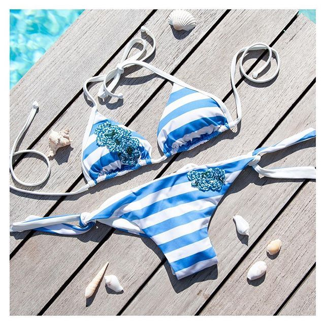 Ladies, shells are looking for their pearls! 🐚💦☀#twinset collection #ss16 #beachwear #bikini #sunchasers #summer #sun #stripes #holiday #blue #outfitoftheday #lookoftheday #shopping #cool #instadaily #instagood #instalike #instagram #instamood #instapic #instacool #instalove #instafashion #instastyle