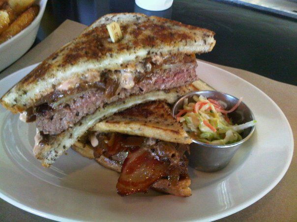 The Ultimelt @ Go Burger Los Angeles.  Patty Melt on two grilled cheese sandwiches.  Just try it.