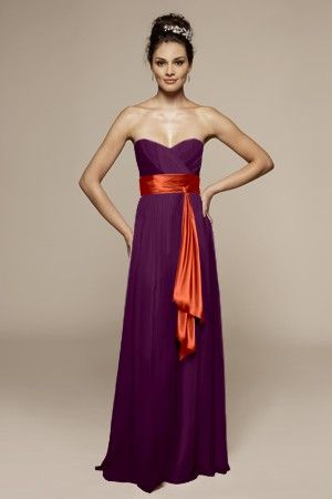 The Matron Of Honour Will Have A Purple Dress With An Orange Sash And Other Bridesmaids Dresses Sashes
