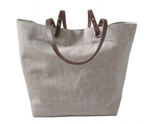 c743cdd1d4 Plain Tote Bag, Natural, Neutral Linen Bag, Beach Bag,Casual Tote, Everyday  Tote, Simple, Casual Handbag