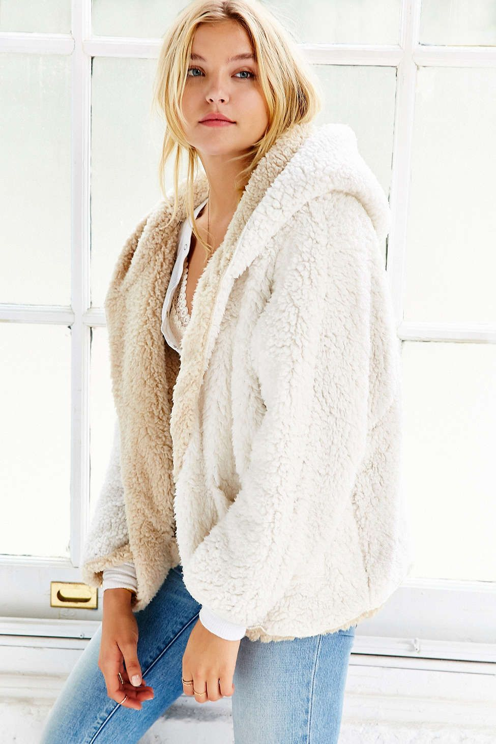 Ecote Fuzzy Reversible Jacket | Faux fur hooded coat, Urban