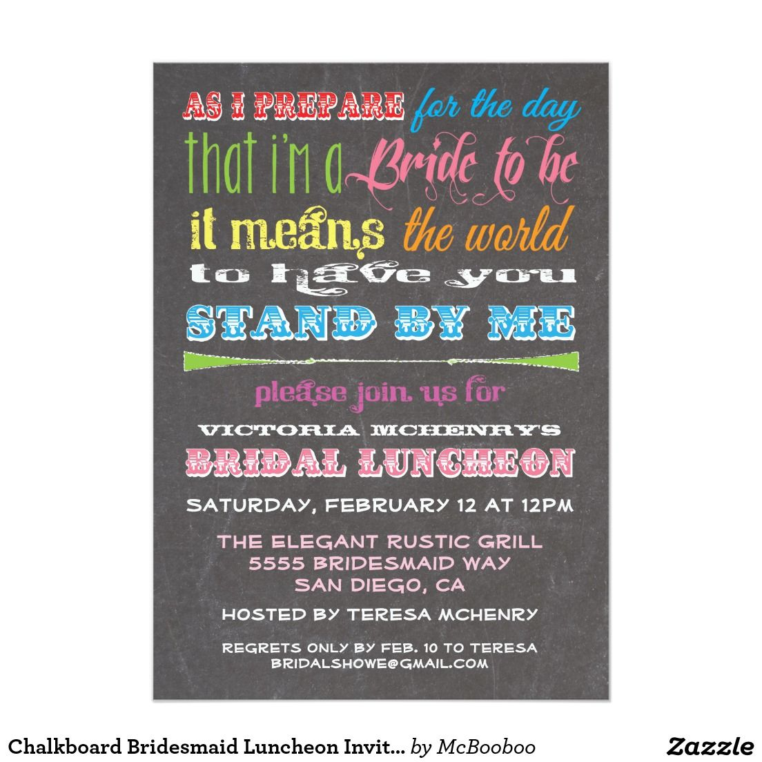 Chalkboard Bridesmaid Luncheon Invitations. Elegant Chalkboard Bridal Shower Invitation Templates. Classy bridal shower invitations that you can order online. Customized for the new bride to be. Elegant bridal shower invitation that feature a nice chalkboard background, great design and typography. Click image to customize. Feel free to like or repin.