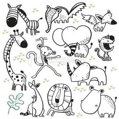 Animals In The Zoo Lines Work Vector Art Illustration Doodle Drawings Vector Art
