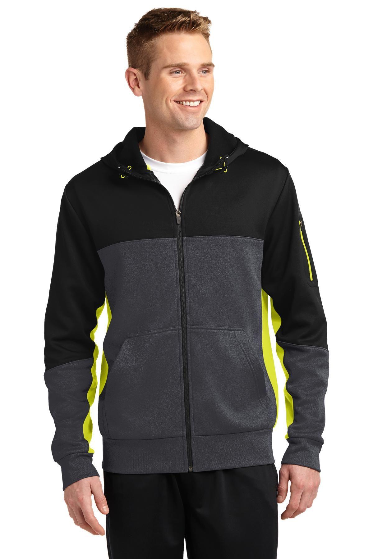 SportTek ST245 Tech Fleece Colorblock FullZip Hooded