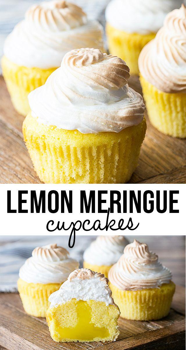 Lemon Meringue Cupcakes with a surprise tart filling! #lemonmeringuecupcakes