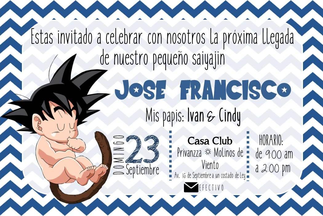 Invitación Goku Baby Shower Invitaciones De Bebé Goku