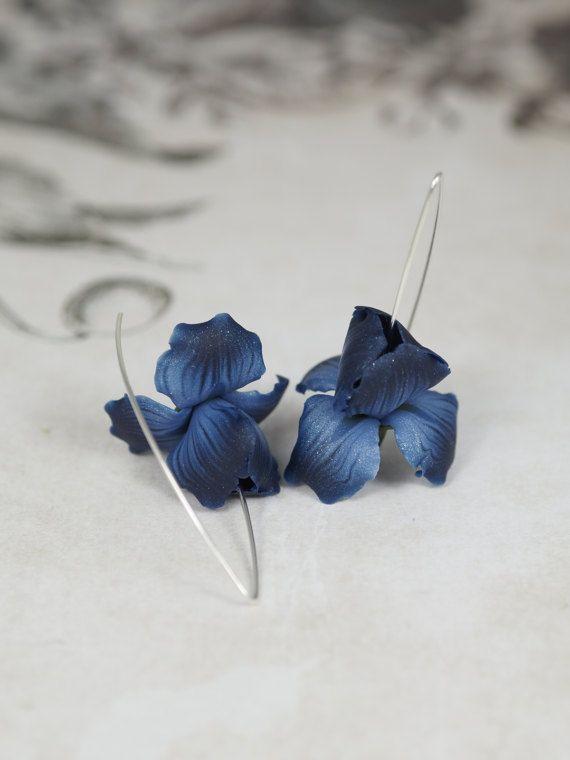 Dark blue iris flower earrings  handmade polymer clay by Segitanna