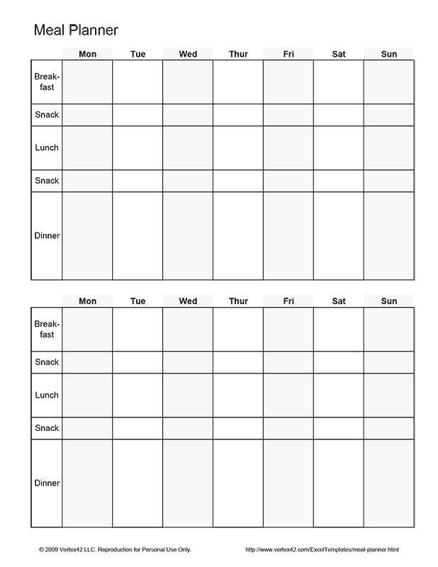Free Printable Biweekly Meal Planner Pdf From Vertex42 Com