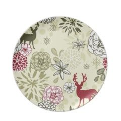 Unique Christmas Holiday Melamine Plates with designs for Santa cookies reindeer Christmas dinner and winter scenes.  sc 1 st  Pinterest & Christmas Deer Scene Woods Dinner Plates | Christmas Plates ...
