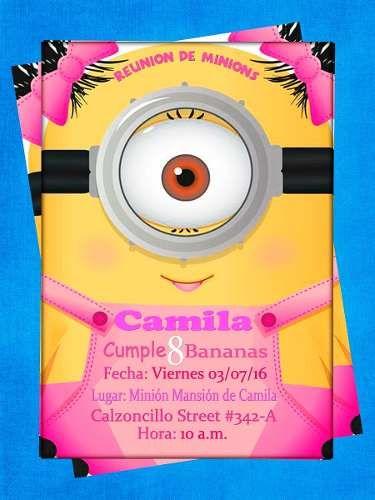 Invitación De Cumpleaños Niña Minion Photoshop Bs 300 00