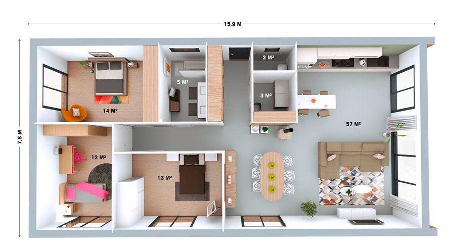 Booa Maison Plan Zoom4 Booa Maison Maison Maison Bois