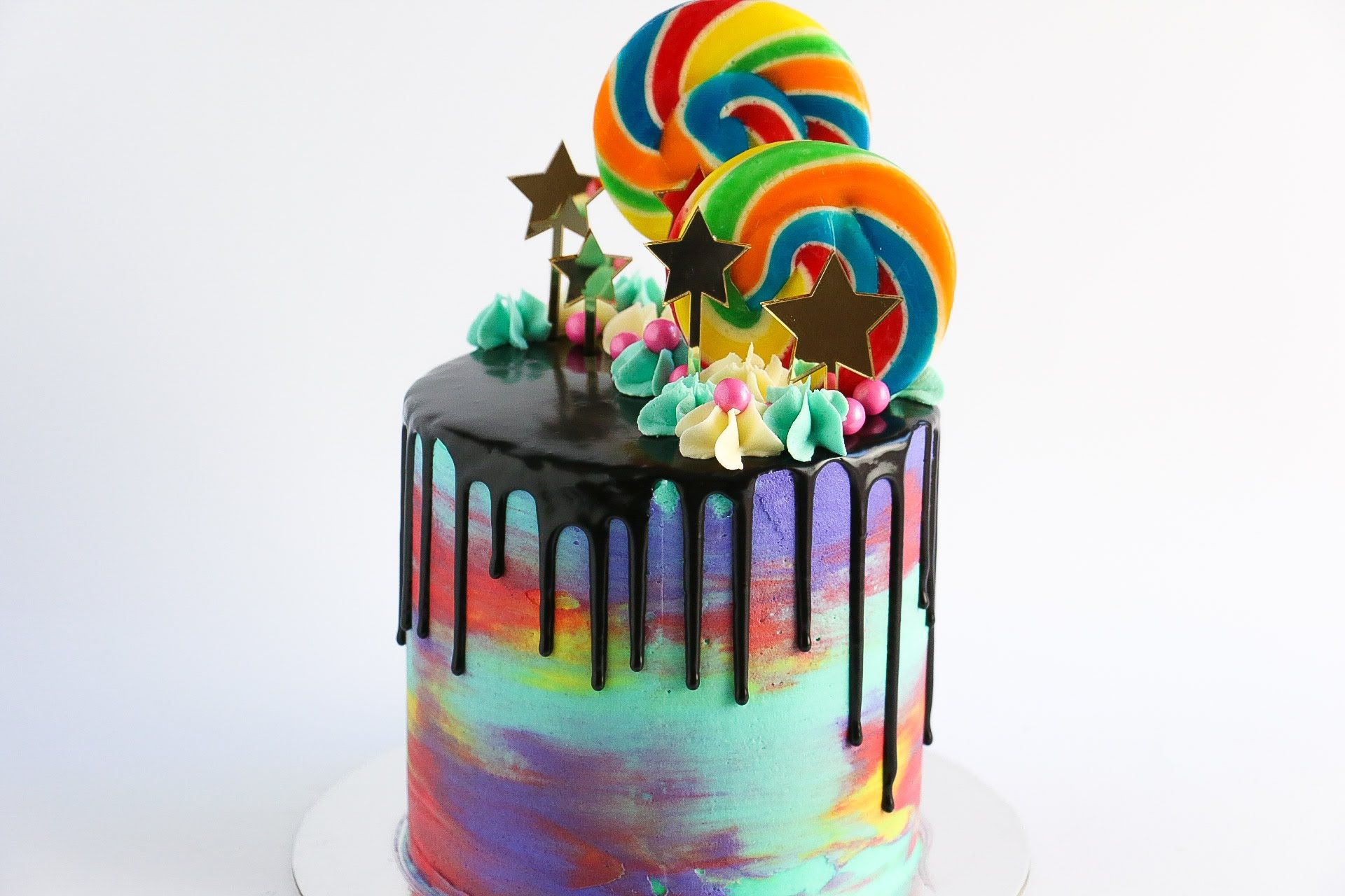 Loaded Watercolour Drip Cake In This Tutorial I Demonstrate How To
