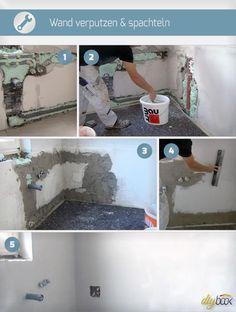 Wand Verputzen, Wand Spachteln | Wand verputzen, Verputzen und Umbau