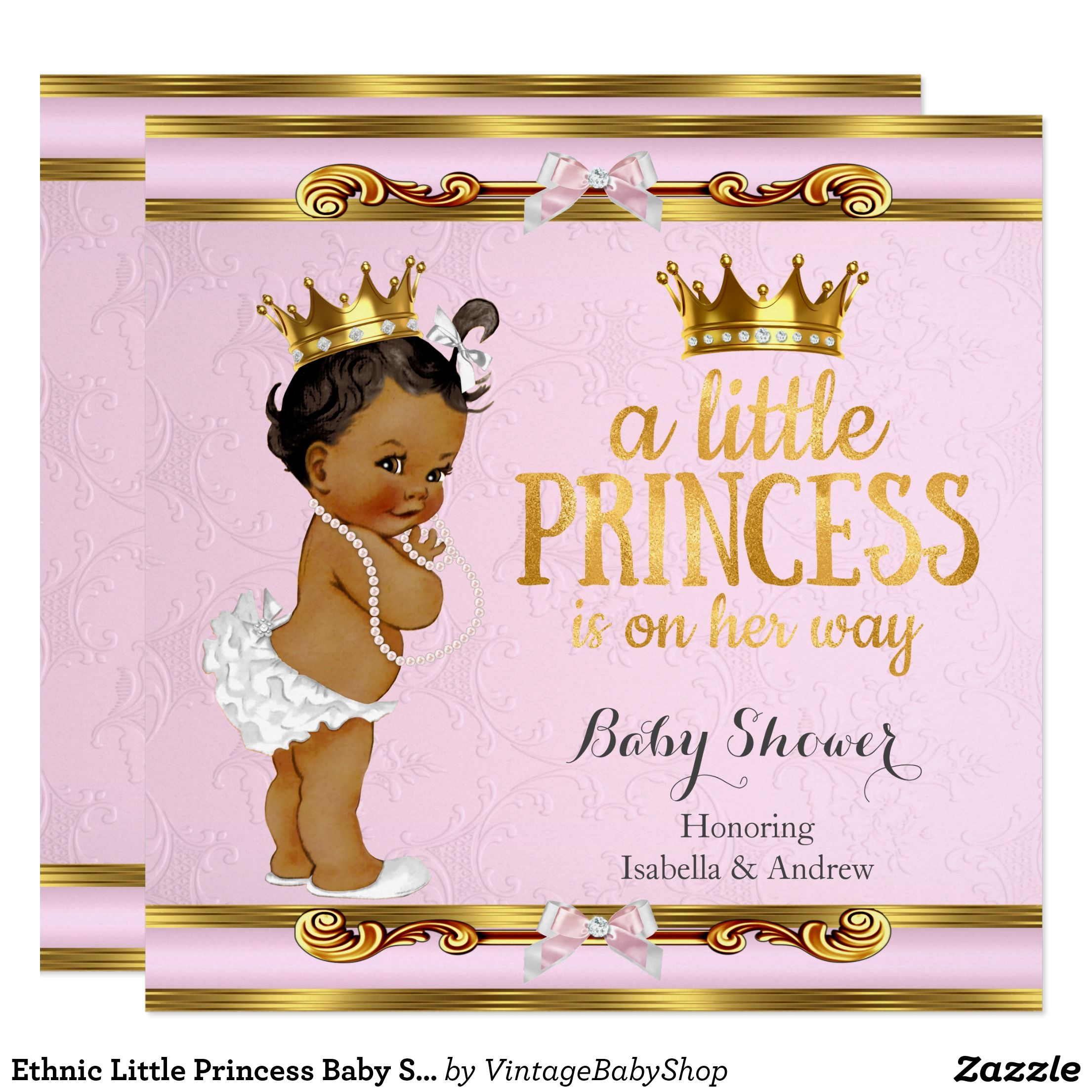 04be82f58 Ethnic Little Princess Baby Shower Pink Gold Invitation | Zazzle.com ...
