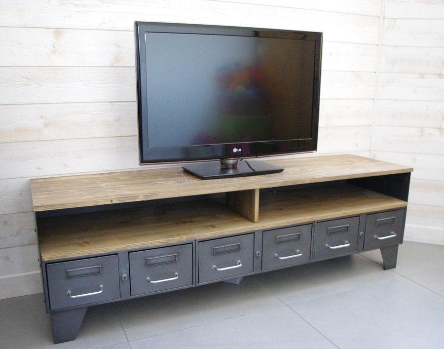 meuble-tv-industriel-bas-bois-metal-vintage Salon / Salle à manger