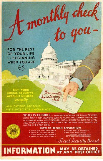 "1935 Social Security /""A Monthly Check To You/"" Advertising Poster 16x24"