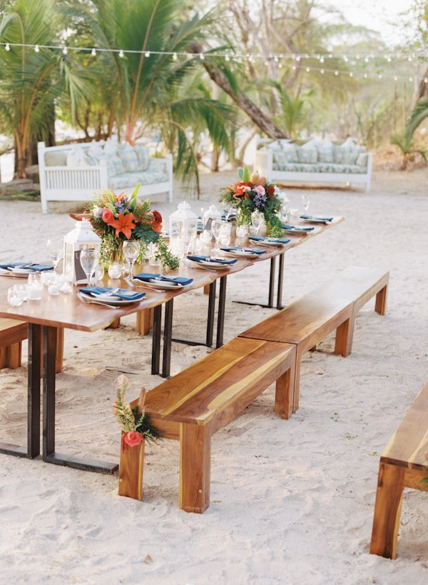Rent Benches For Wedding Part - 23: Eventos Artesanos Lovely Guanacaste Tables With Their Teak Benches For Rent  In Costa Rica.