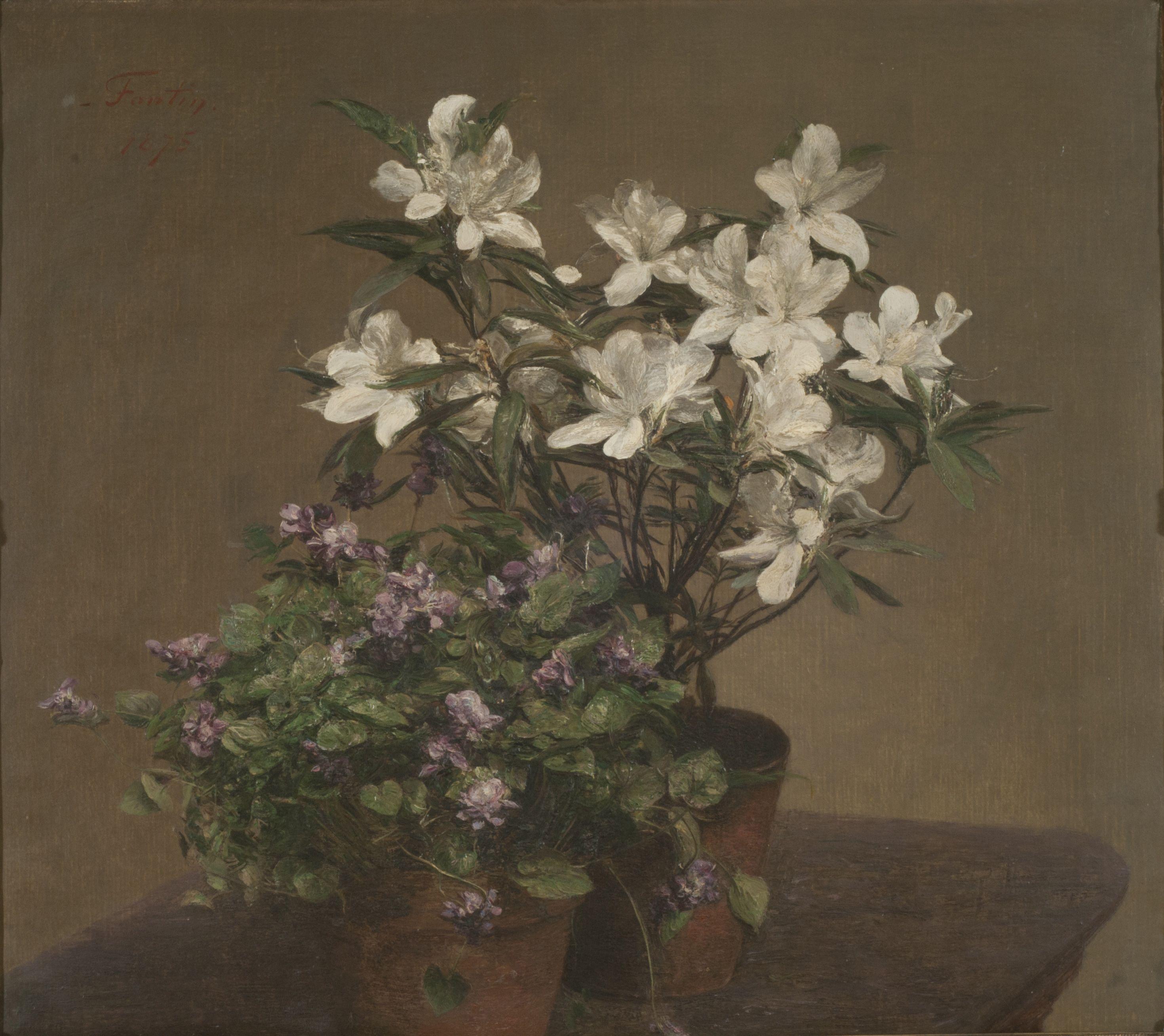 Henri Fantin-Latour (1836–1904) Violettes et azalées (Violetas y ...
