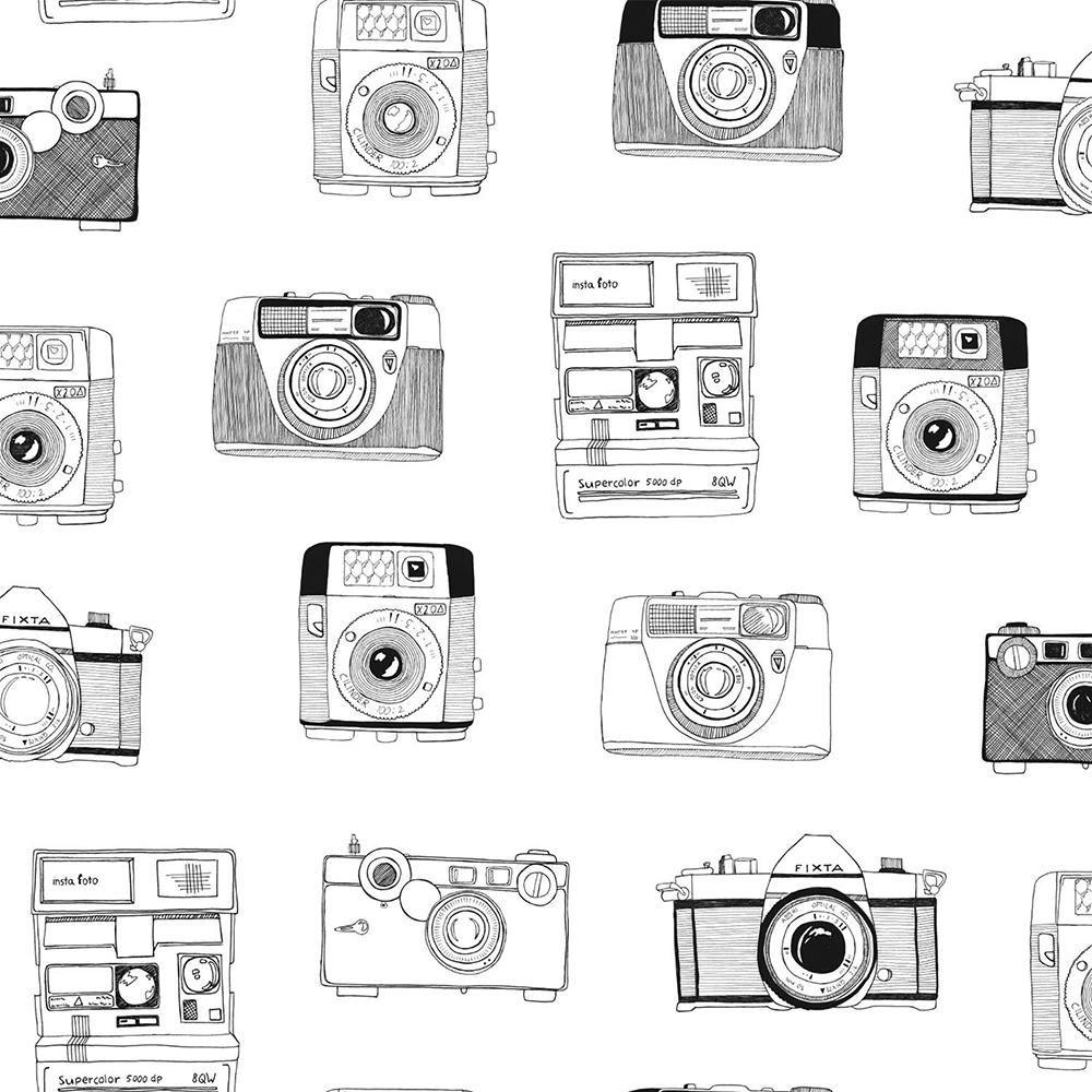 56.4 sq. ft. Pinkins White Retro Camera Strippable