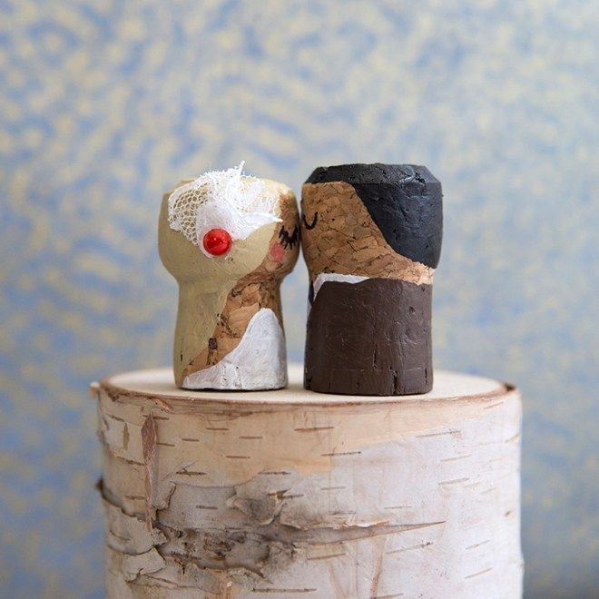 Cork Wedding Memory: You HAVE To See These DIY, Painted Champagne Cork Bride