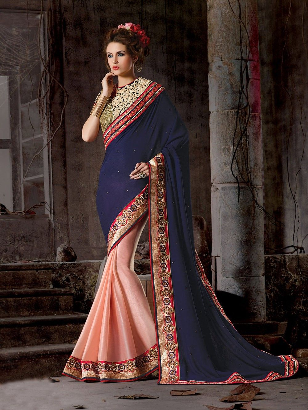 361b935082 Buy Navy Blue and Peach Georgette Viscose Saree with Resham Embroidery Work  Online in USA