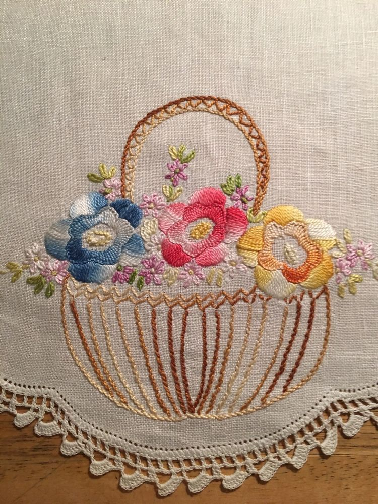 Vintage Hand Embroidered Linen Lace Table Runner Flower Basket ...