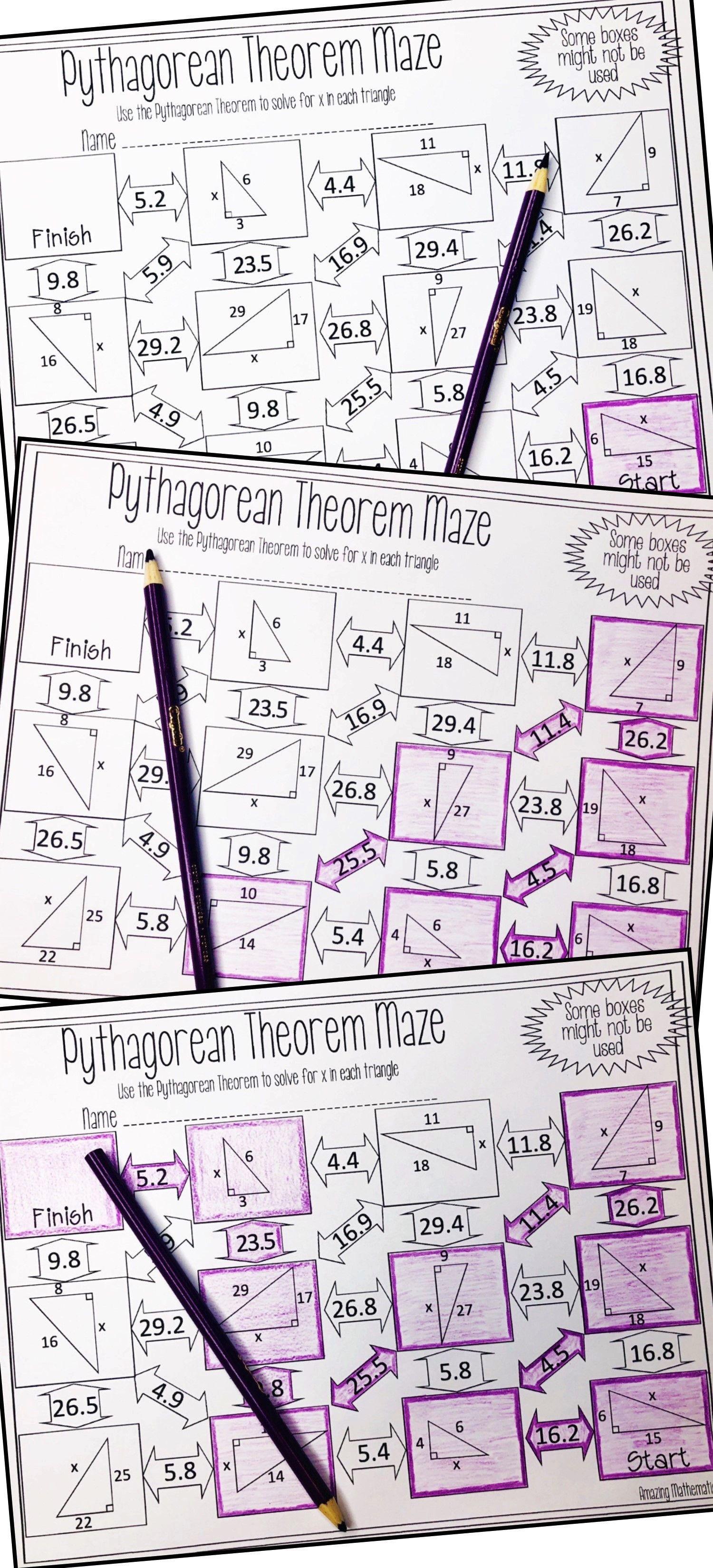 Pythagorean Theorem Maze Worksheet Pythagorean theorem