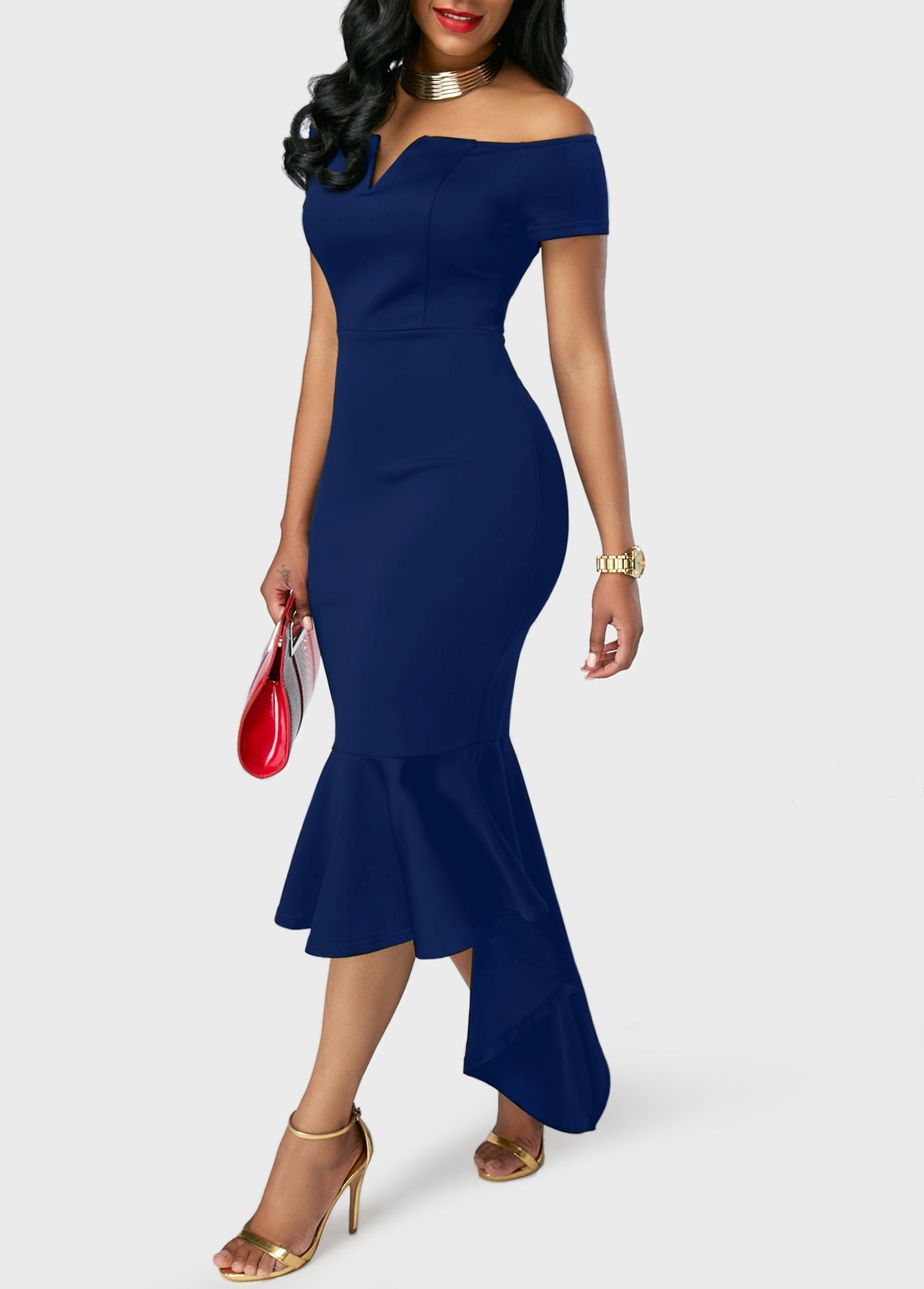 328039022e01e0 Peplum Hem Navy Blue Off the Shoulder Dress