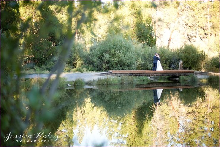 bridal portrait reflection - aspen hall shelvin pond rustic wedding
