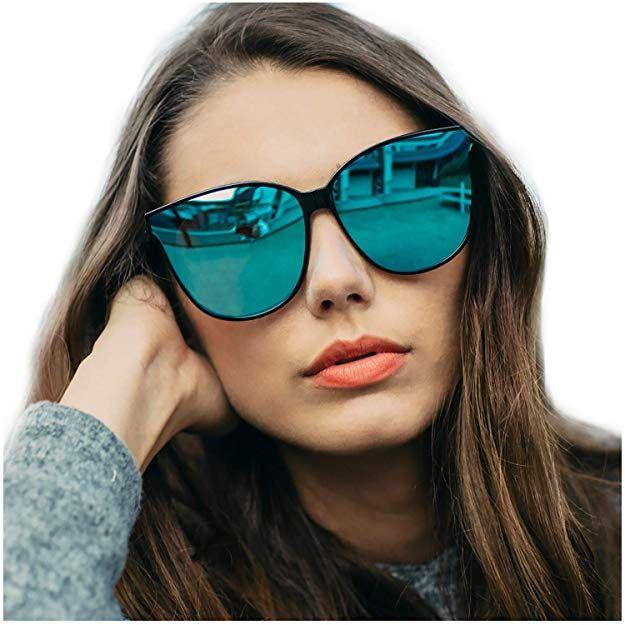 880b0c68fa9 LVIOE Cat Eyes Mirrored Sunglasses for Women