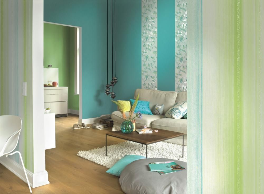 wandgestaltung-in-blau-gruen-5264df26e9855.jpg (jpeg-grafik, 1000 ... - Wohnzimmer Blau Grun