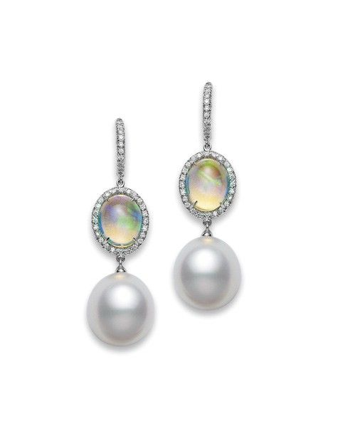 Mikimoto earrings: Opal Earrings One-of-a-kind White South Sea cultured pearls, water opals and diamonds, set in platinum