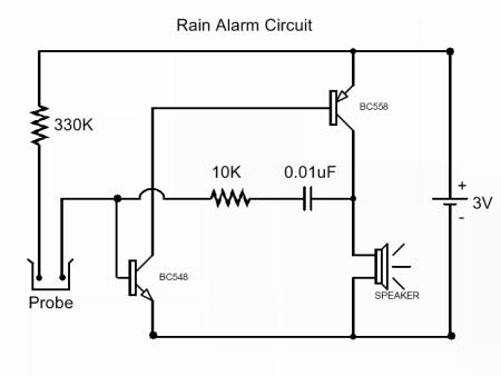 rain detector with alarm circuit