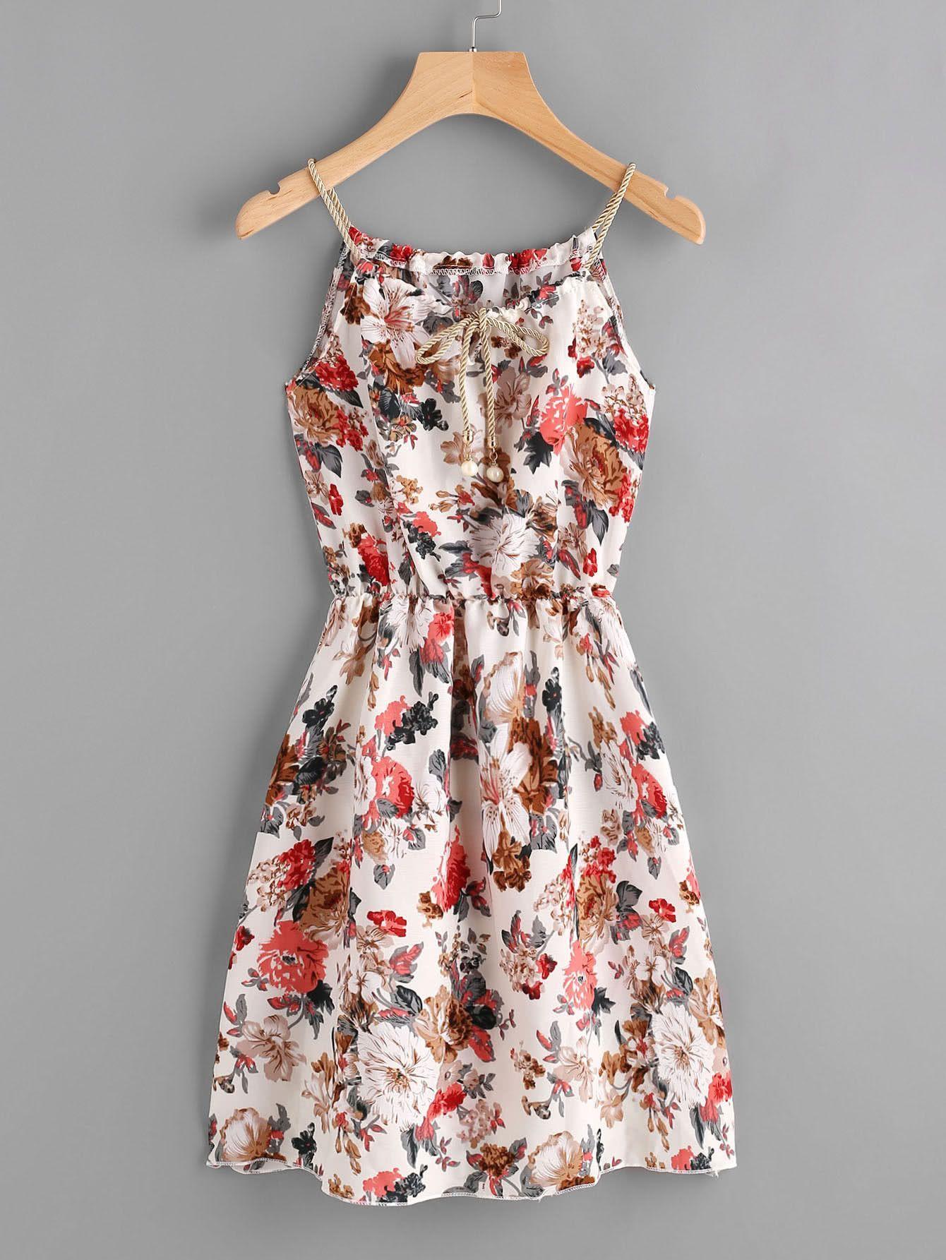 6410241df2 Multicolor Floral Print Elastic Waist Self Tie Cami Dress | Princess ...