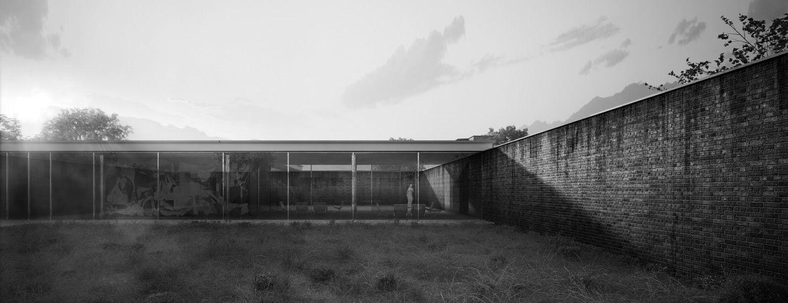 Casa con tres patios mies van der rohe arquitectura for Casa minimalista de mies van der rohe