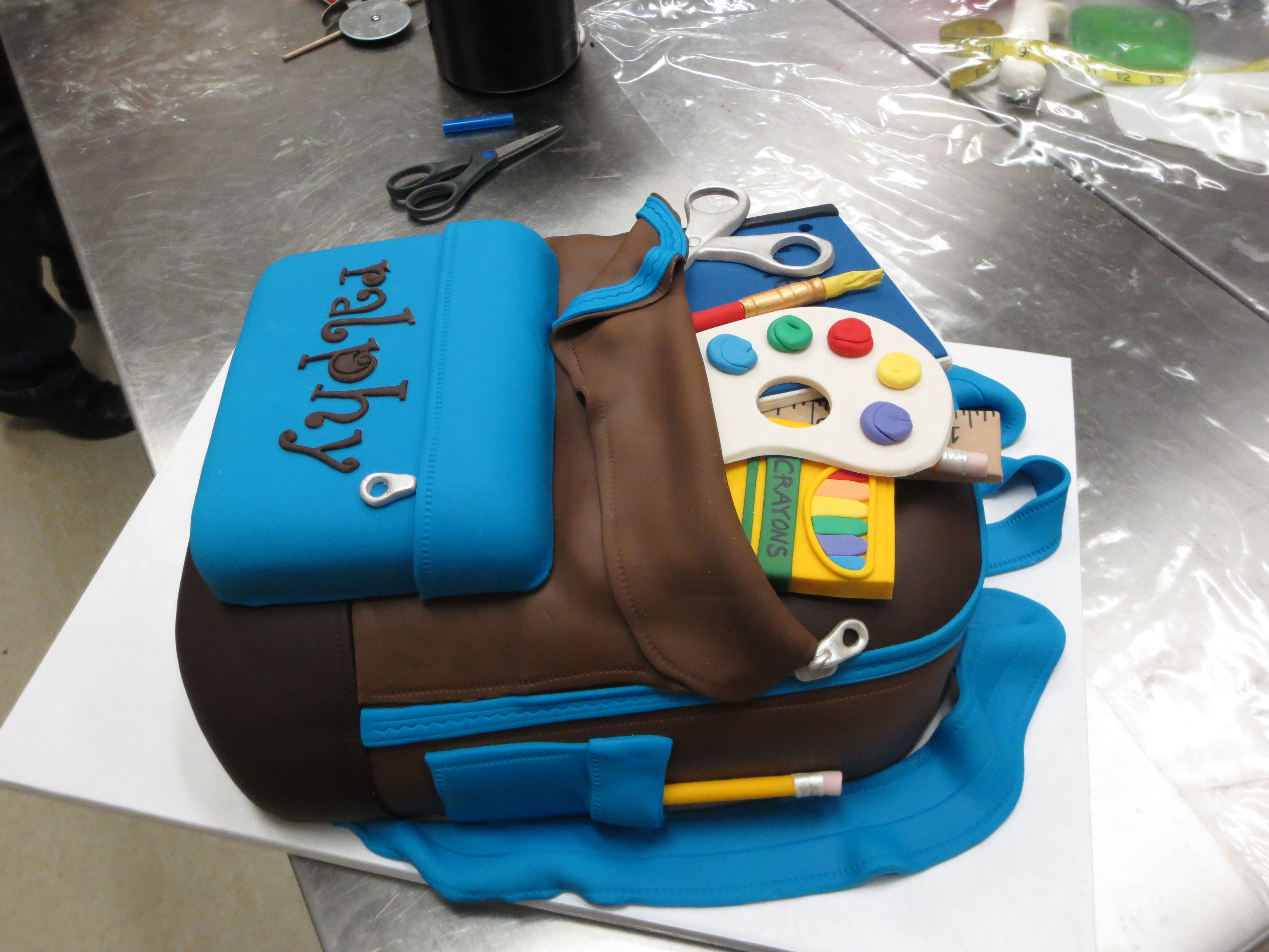 Backpack Cake With Edible School Supplies Custom Cake