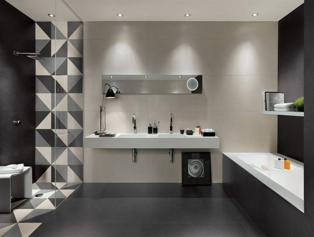 Lieblich Https://deavita.com/wp Content/uploads/2014/08/Schwarz Grau Wei %C3%9F Dreieck Badezimmer Fliesen Gro%C3%9Fformat Matt | Home  Improvement | Pinterest ...