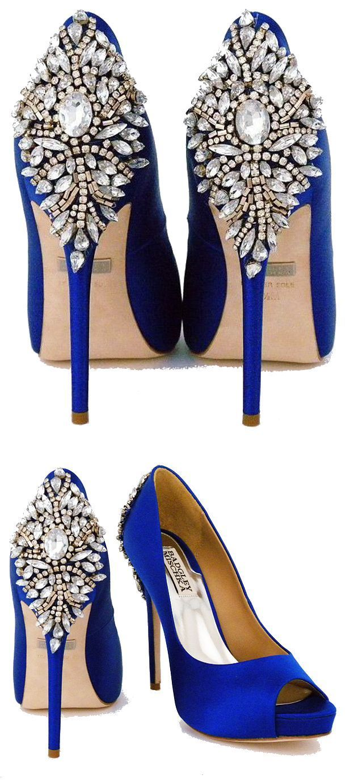 Navy blue dress shoes for wedding  Kiarau Crystal Back Open Toe Pump  Weddings Fancy shoes and