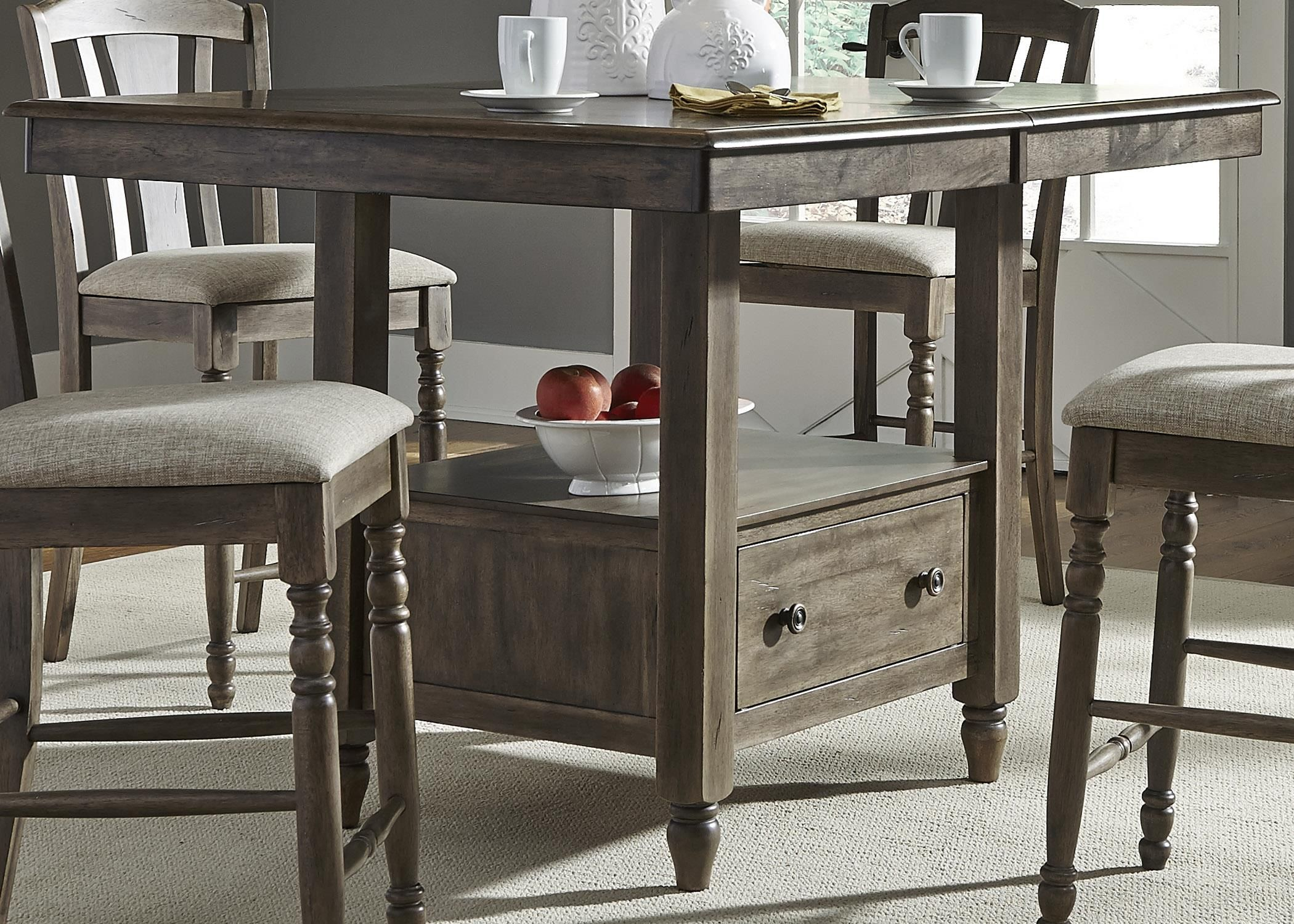 Candlewood Center Island Gathering Table With Built In Storage By