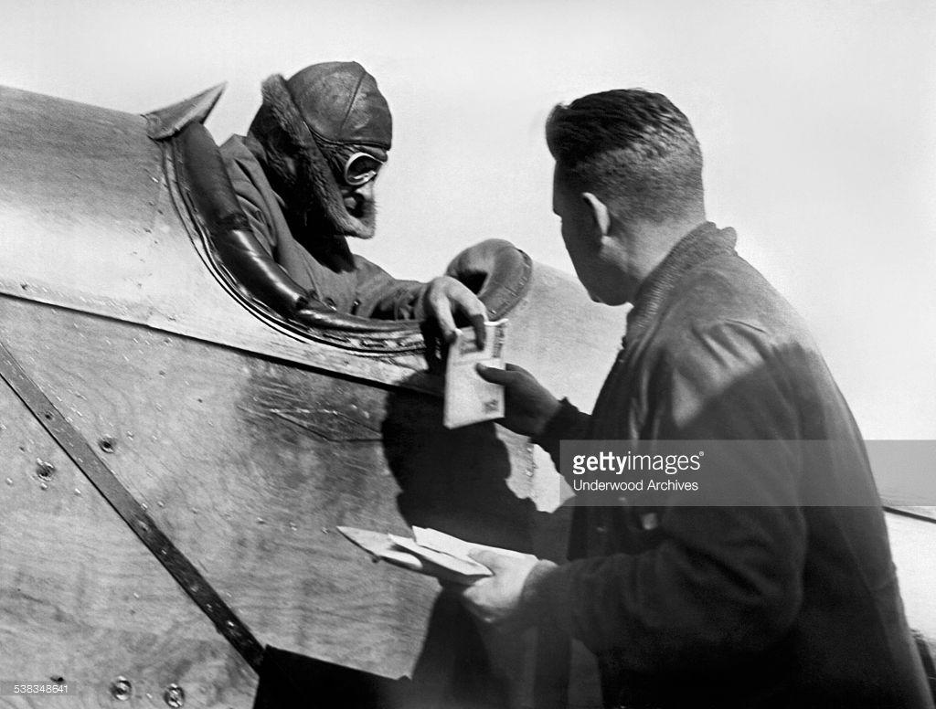US Air Mail pilot C Eugene Johnson arrives at Curtiss ...