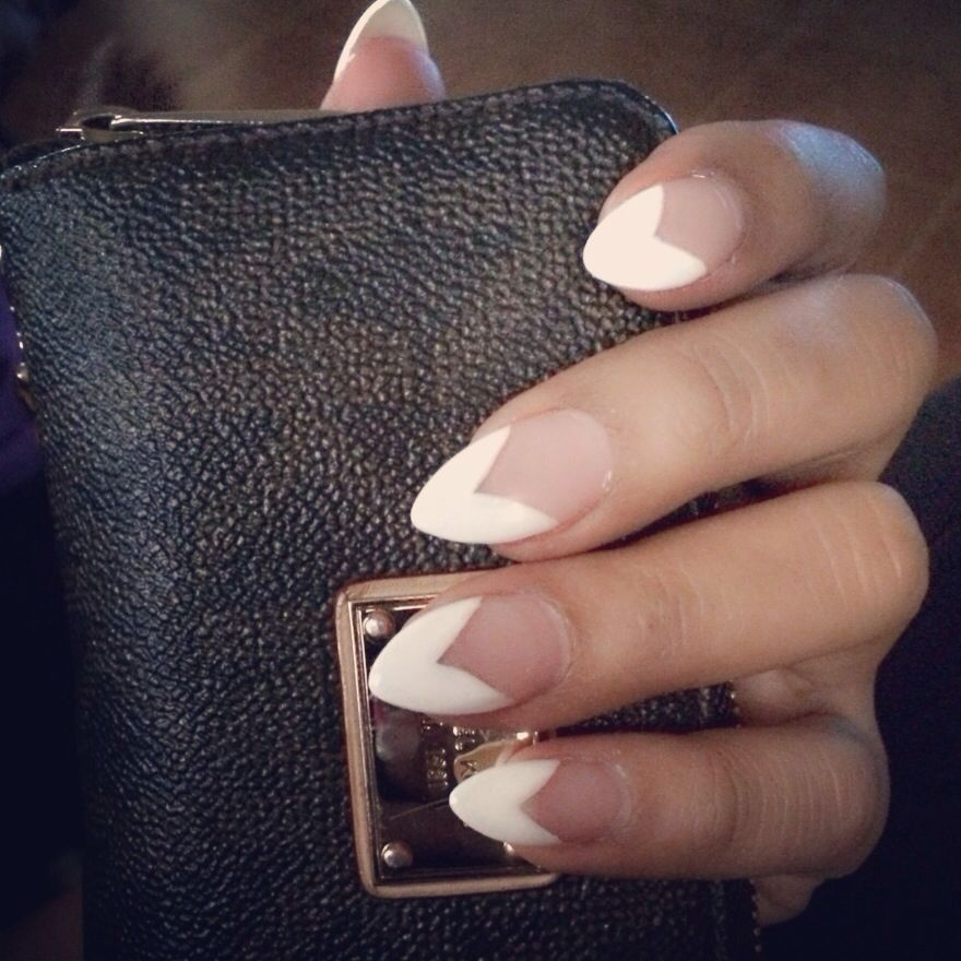 pointy nails. french tip. white