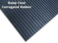 Ramp Cleat Corrugated Rubber Ideal for Incline Ramps.  The ribs run widthwise which improves floor traction on inclines/ramps.
