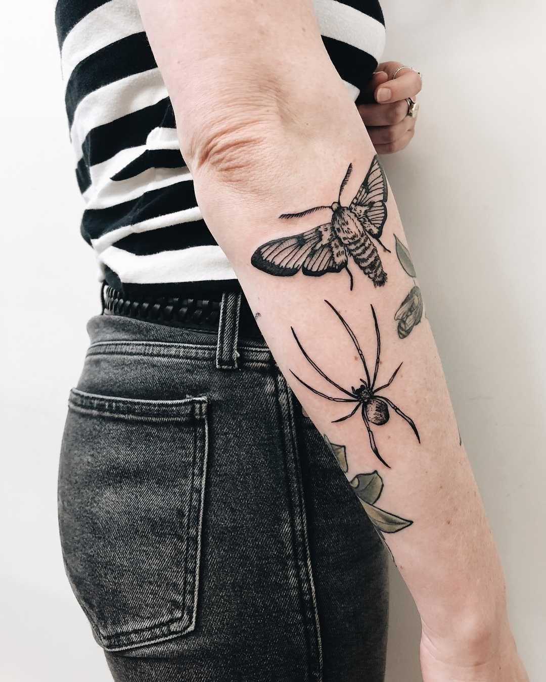 Spider and moth tattoo by Finley Jordan - Tattoogrid.net