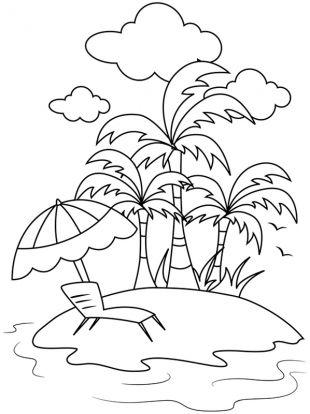 Strand clipart schwarz weiß  Sommer: Kostenlose Malvorlage: Sommerurlaub auf der Ferieninsel ...