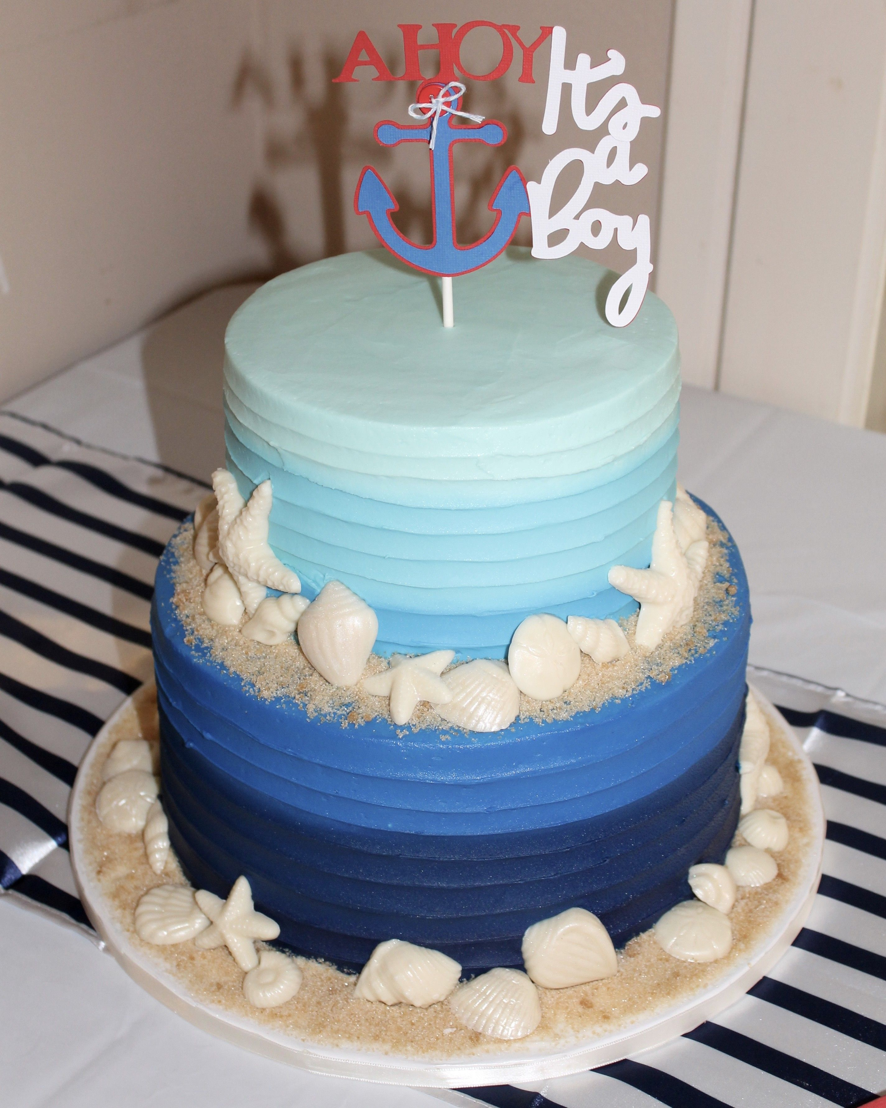 Ahoy, It's a Boy! Nautical Baby Shower cake