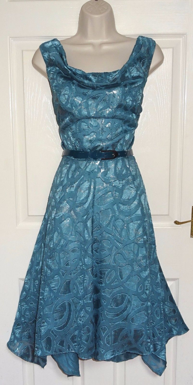 fa35d02072 BETTY JACKSON BLACK Teal Silver Fit   Flare Evening Occasion Tea Dress Size  14